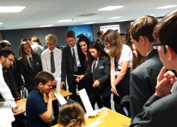 80 Year 10 students took part in the bridge building session