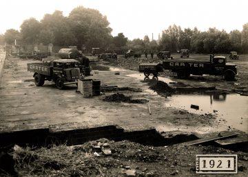 R G Carter 1940s trucks on Estelle Works site clearance