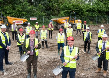 Hanslope Primary School ground breaking with R G Carter
